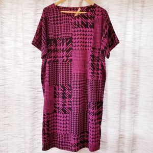 5/$25 Ellen Tracy Shirt Dress Black Purple Large